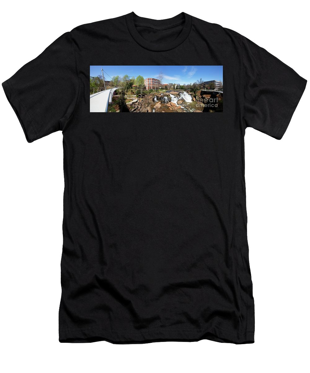Bridge Men's T-Shirt (Athletic Fit) featuring the photograph Greenville Panorama by Bill Cobb