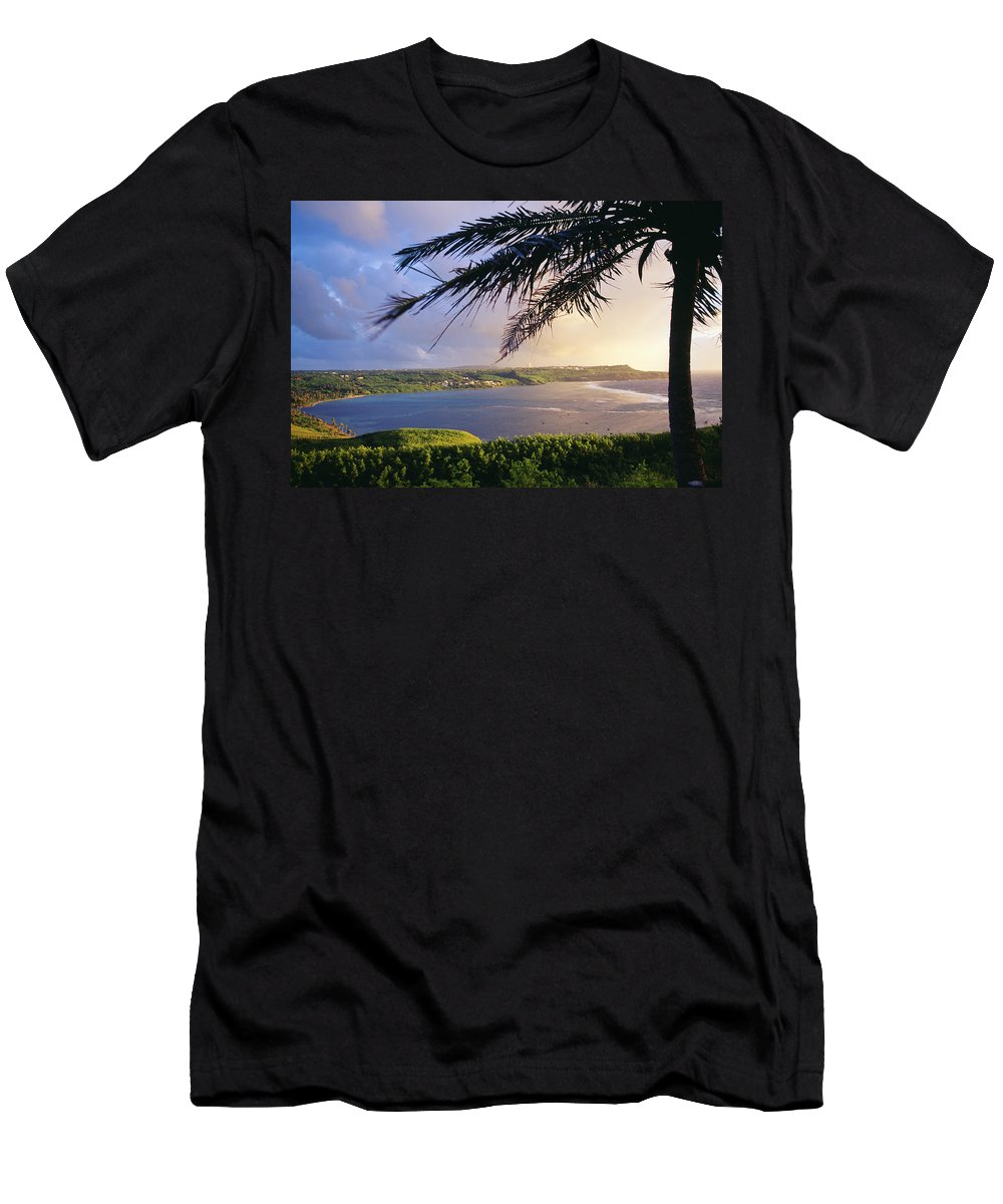 Bay Men's T-Shirt (Athletic Fit) featuring the photograph Guam, Pago Bay by Greg Vaughn - Printscapes