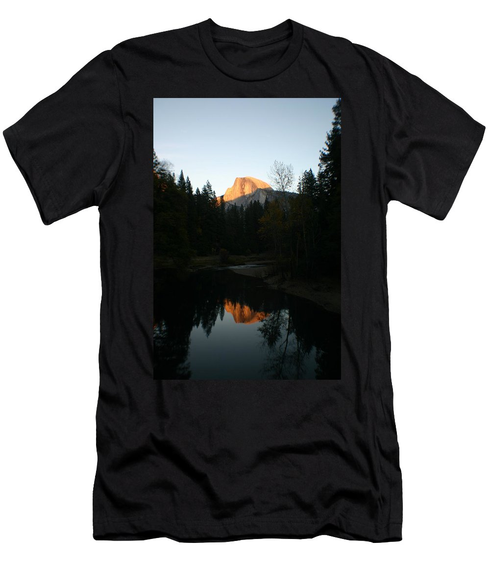 Half Dome Men's T-Shirt (Athletic Fit) featuring the photograph Half Dome Sunset by Travis Day