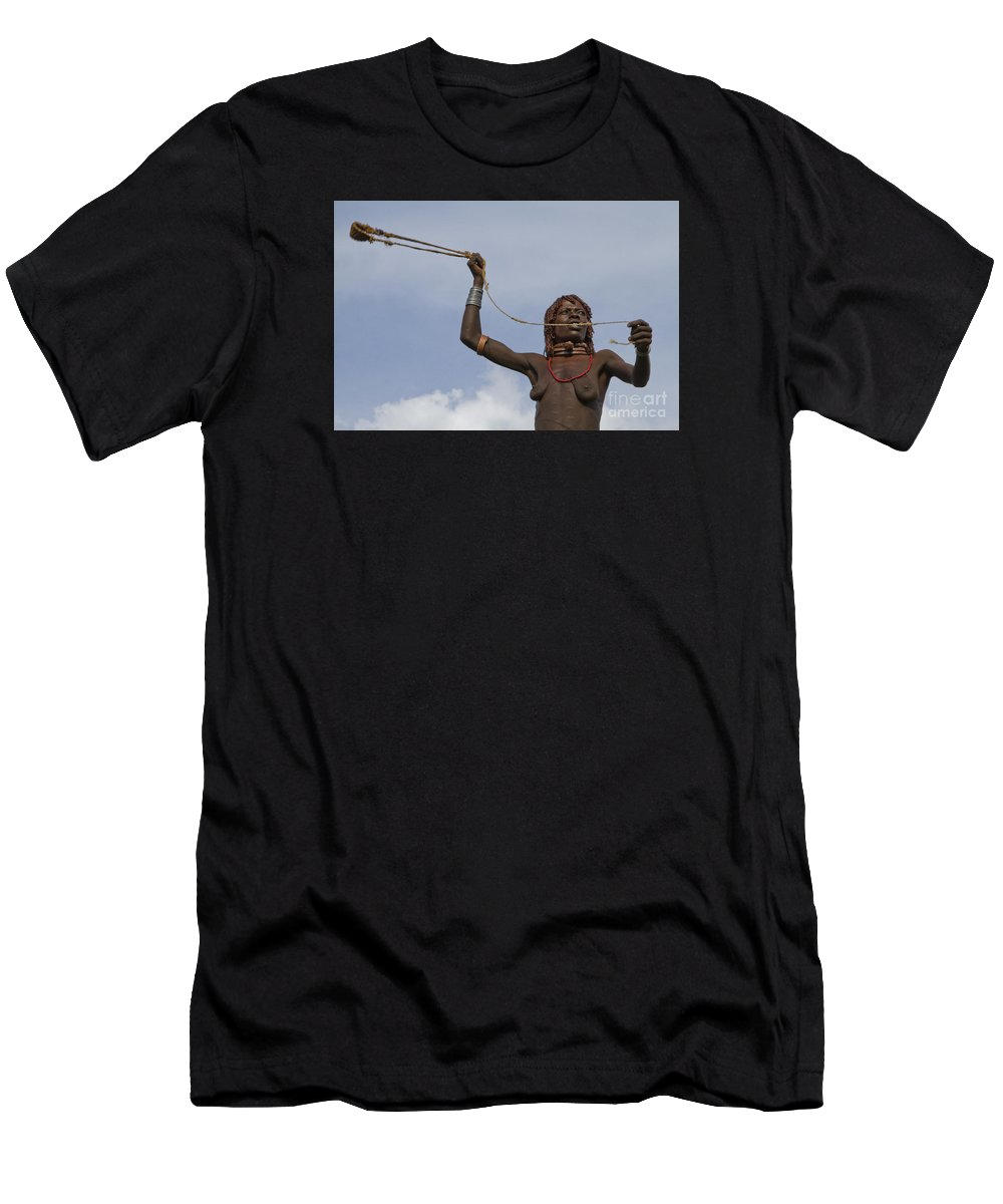 Slingshot Men's T-Shirt (Athletic Fit) featuring the photograph Hamer Tribe Woman, Ethiopia by Eyal Bartov