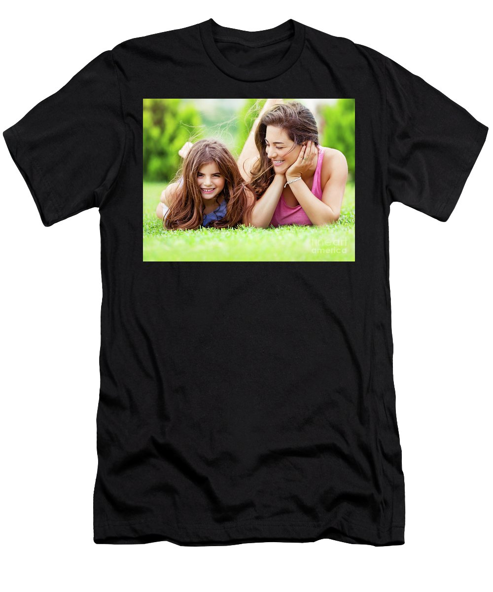Baby Men's T-Shirt (Athletic Fit) featuring the photograph Happy Mother With Daughter by Anna Om