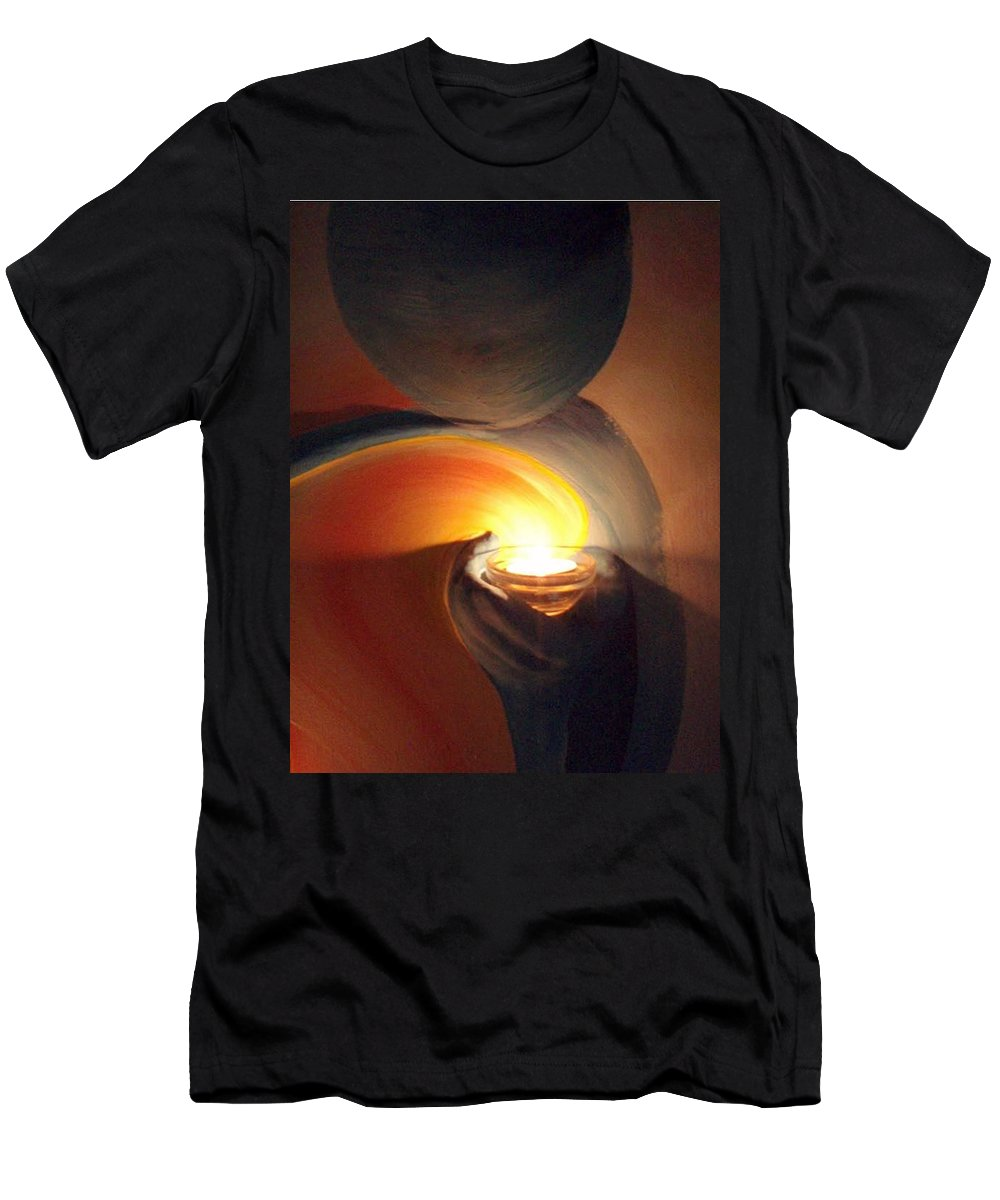 Helping Hands Men's T-Shirt (Athletic Fit) featuring the painting Helping Hands Detail by Catt Kyriacou