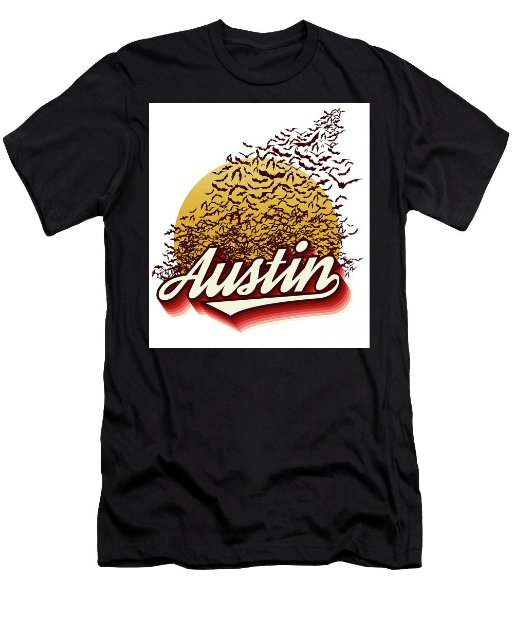 Austin Bats Men's T-Shirt (Athletic Fit) featuring the photograph Congress Avenue Bridge Bats Take Flight In Austin Texas by Herronstock Prints