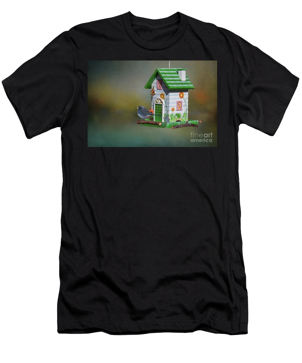Junco Men's T-Shirt (Athletic Fit) featuring the mixed media Home,sweet Home by Eva Lechner