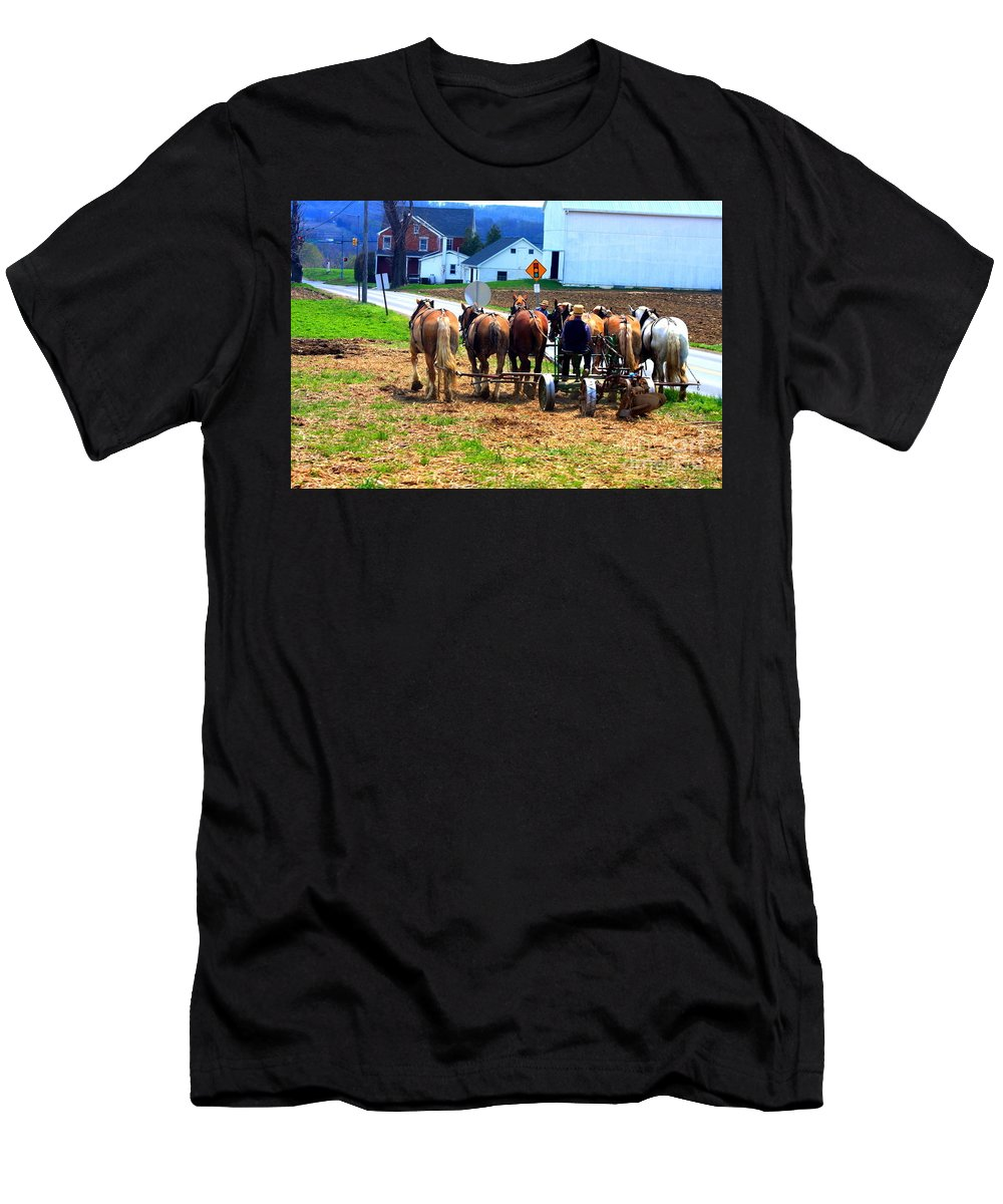 This Is A Photo Of A Young Man Driving A Team Of Horses Pulling Farm Equipment On A Farm Near Lancaster Pa. Men's T-Shirt (Athletic Fit) featuring the photograph Horse Team by William Rogers