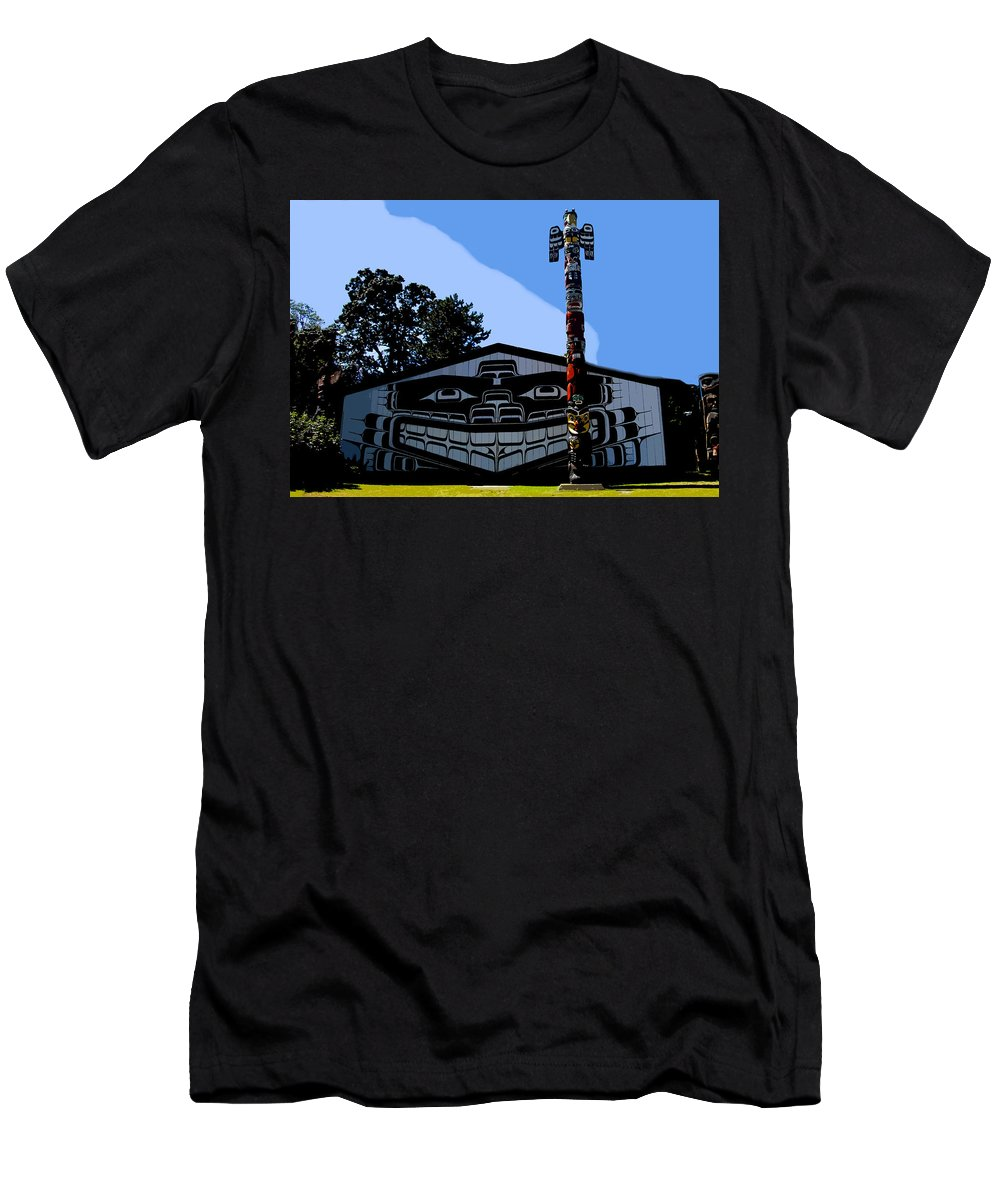 Totem Poll Men's T-Shirt (Athletic Fit) featuring the painting House Of Totem by David Lee Thompson