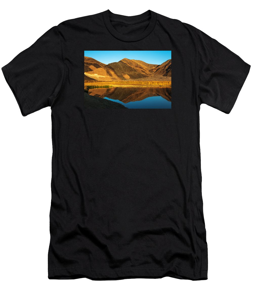 Jmp Photography Men's T-Shirt (Athletic Fit) featuring the photograph Ibex Hills Reflection by James Marvin Phelps
