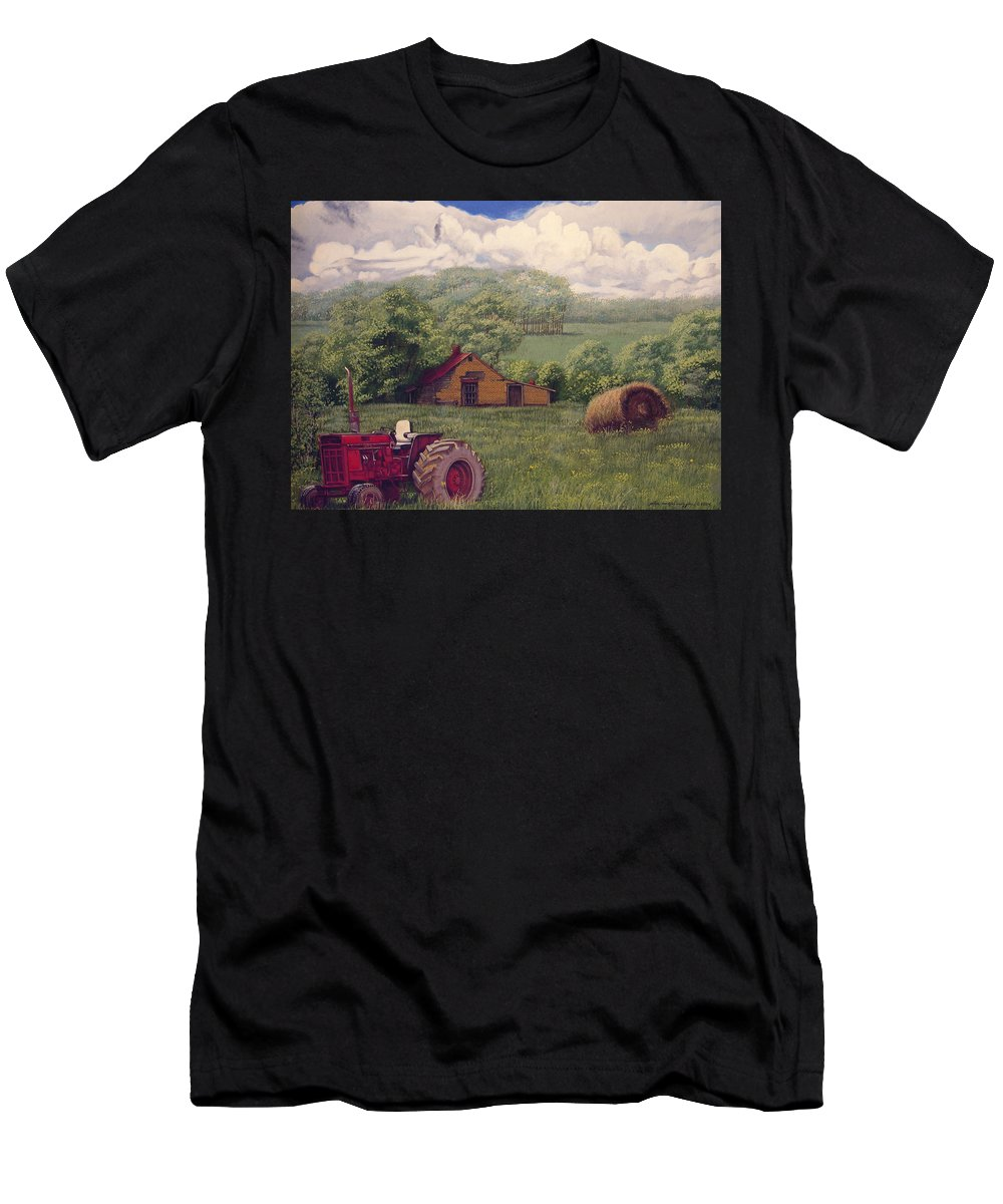 Landscape T-Shirt featuring the painting Idle in Godfrey Georgia by Peter Muzyka