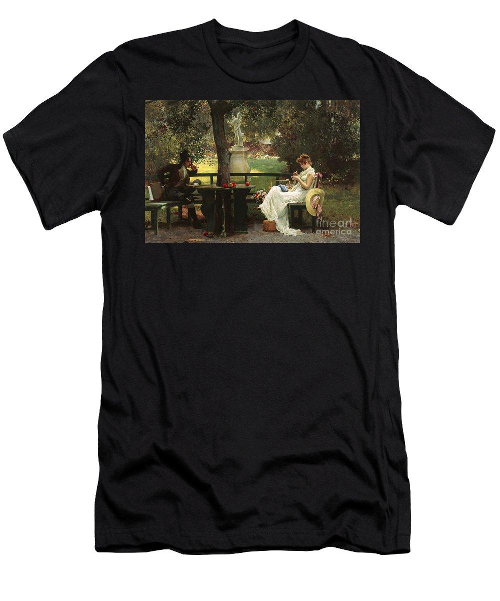 In Love (oil On Canvas) By In Love (oil On Canvas) By Marcus Stone (1840-1921) Men's T-Shirt (Athletic Fit) featuring the painting In Love by Marcus Stone