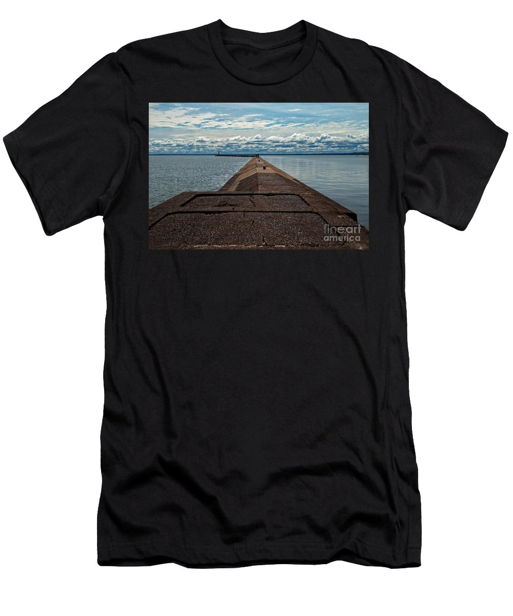 Lighthouse Men's T-Shirt (Athletic Fit) featuring the photograph Infinity by Upper Peninsula Photography