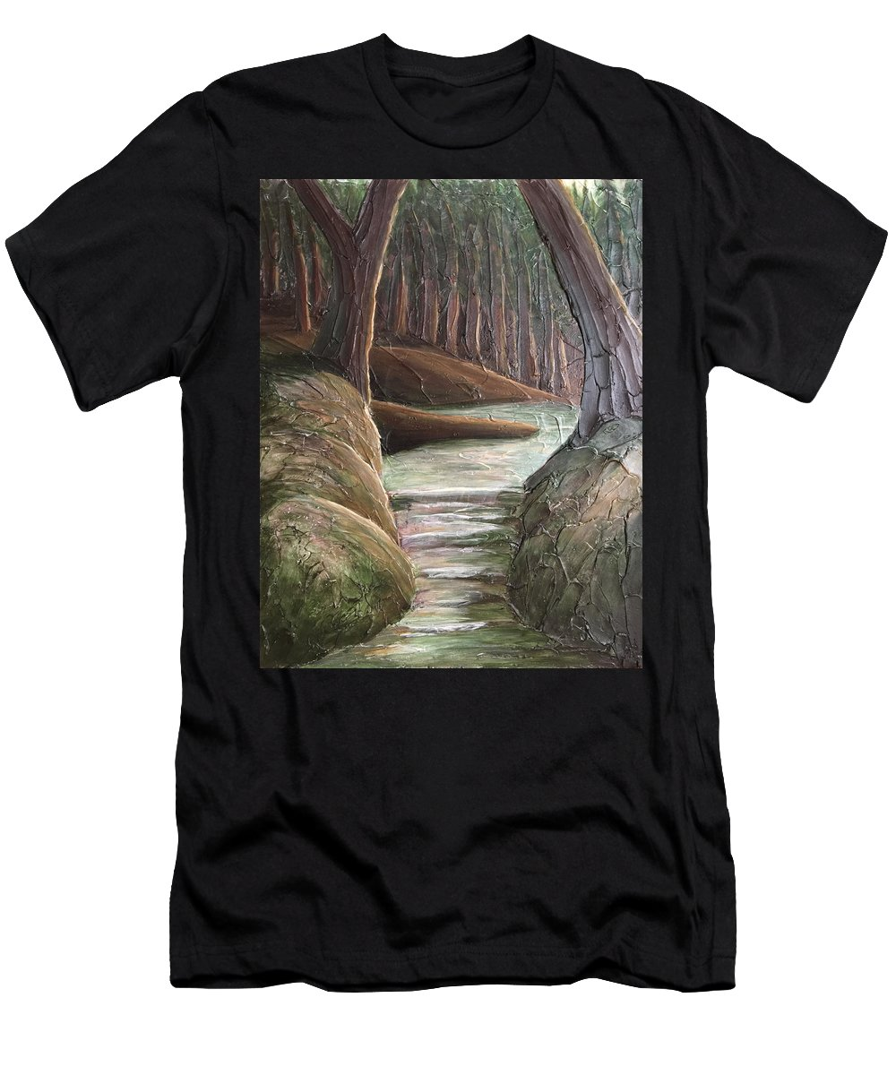 Textured Men's T-Shirt (Athletic Fit) featuring the painting Into The Woods II by KJ Burk