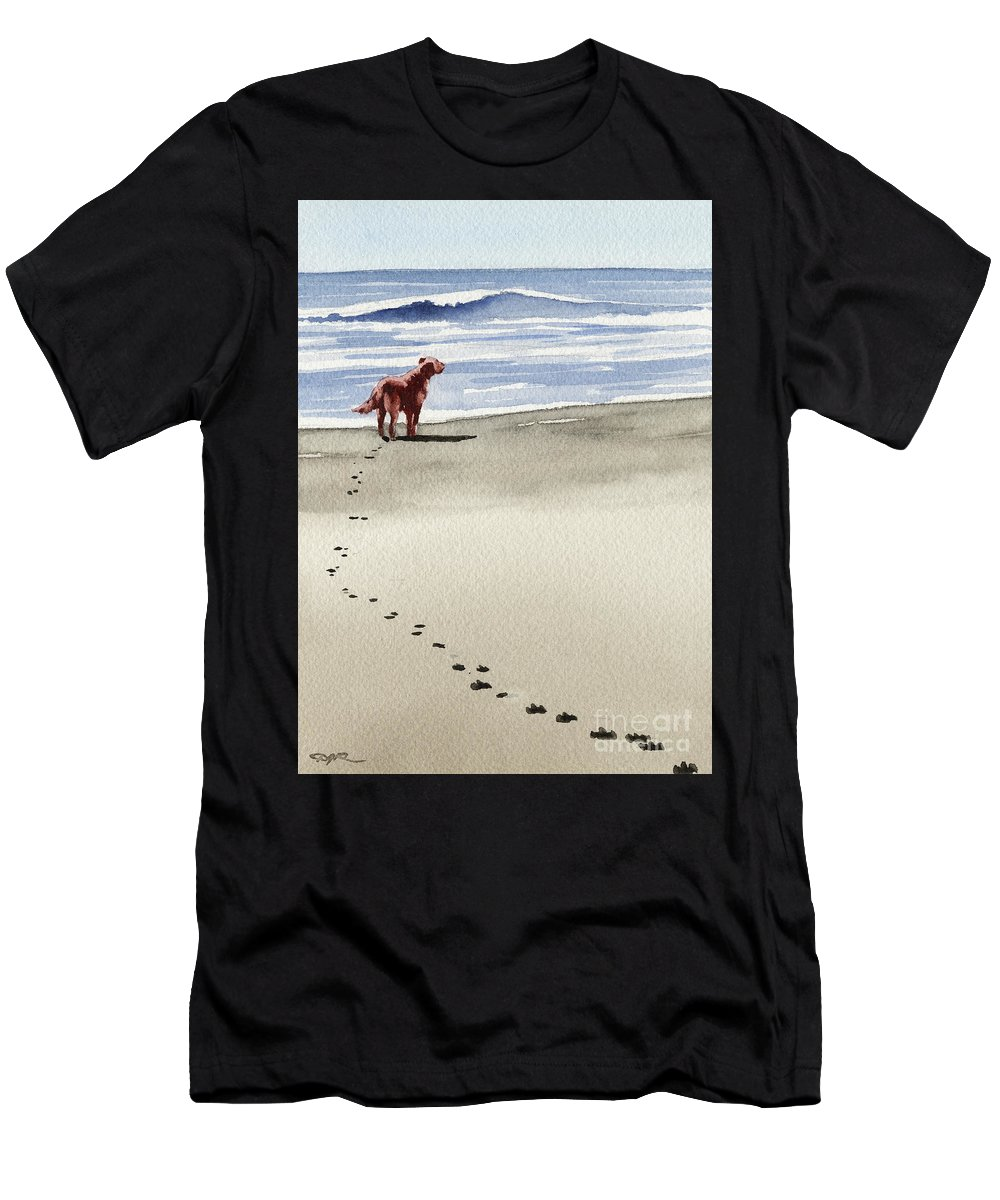 Irish Men's T-Shirt (Athletic Fit) featuring the painting Irish Setter At The Beach by David Rogers