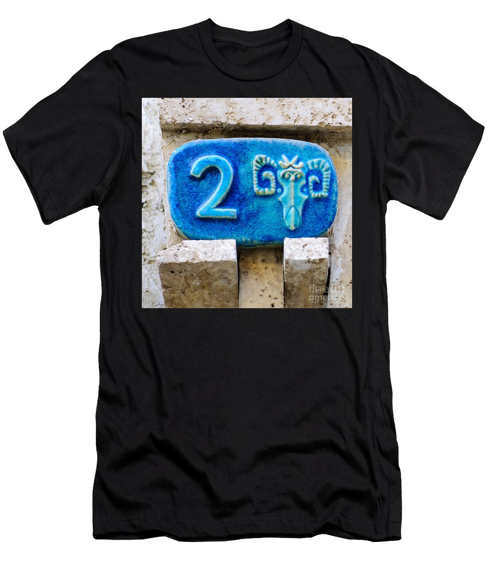 Israel Men's T-Shirt (Athletic Fit) featuring the photograph Jaffa, Zodiac Street Sign by Ilan Rosen