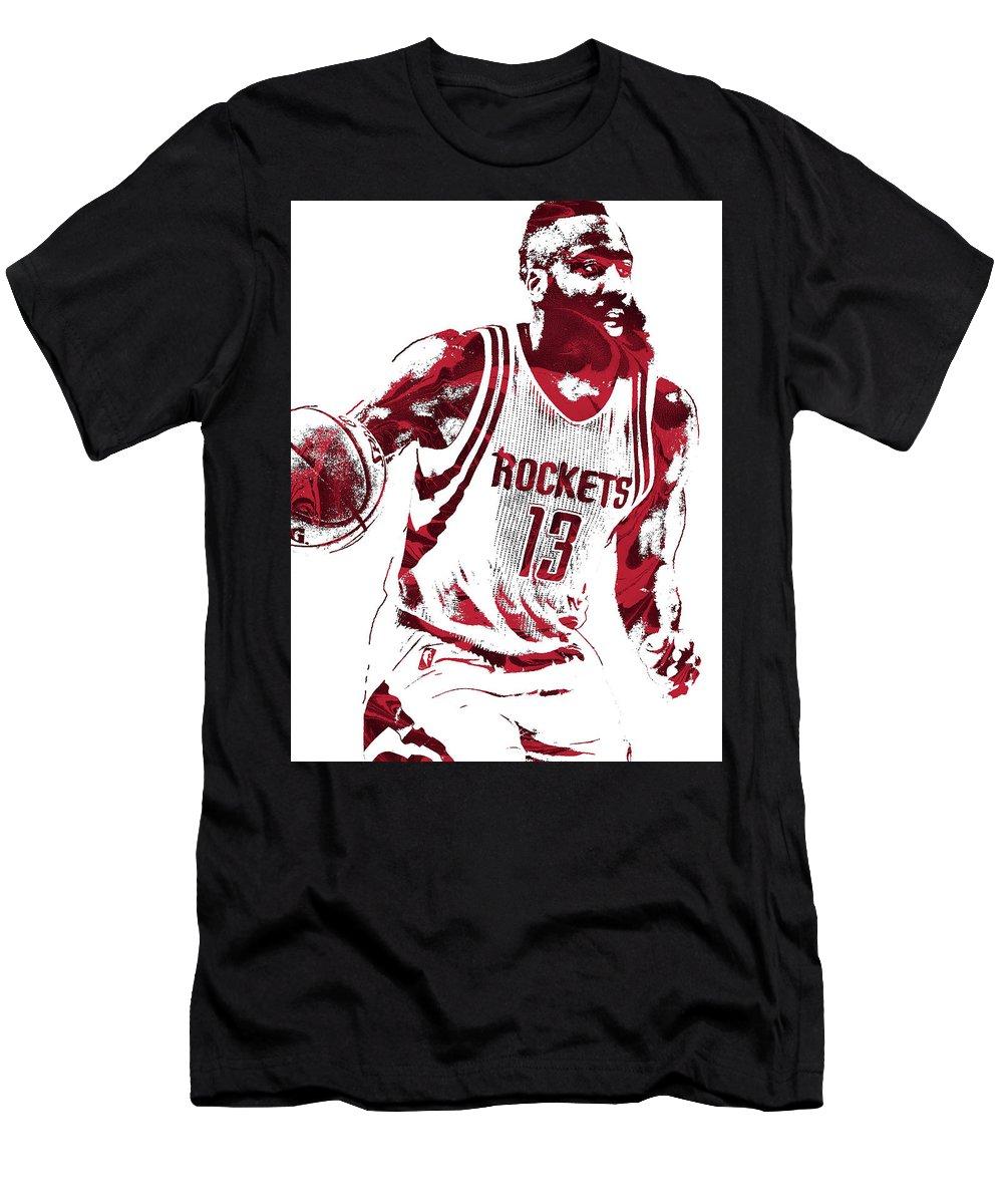 newest 97be6 43557 James Harden Houston Rockets Pixel Art 2 Men's T-Shirt (Athletic Fit)