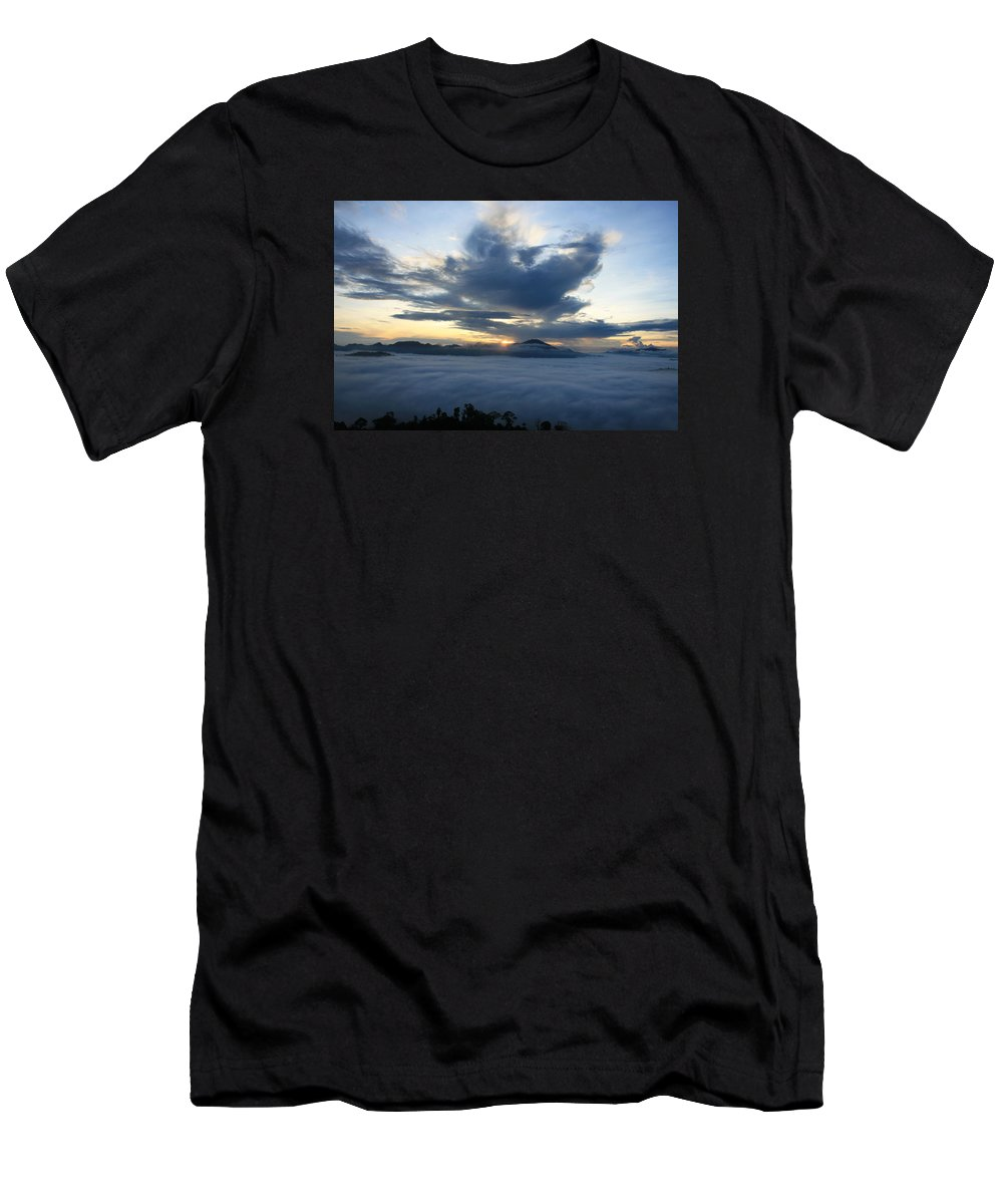 Borneo Men's T-Shirt (Athletic Fit) featuring the photograph Jungle Sunrise by Andrew Parker