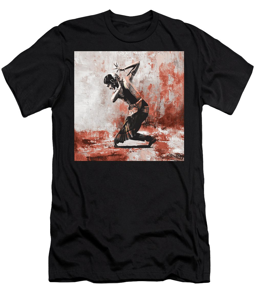 Dancer Men's T-Shirt (Athletic Fit) featuring the painting Kathak Dancer by Gull G