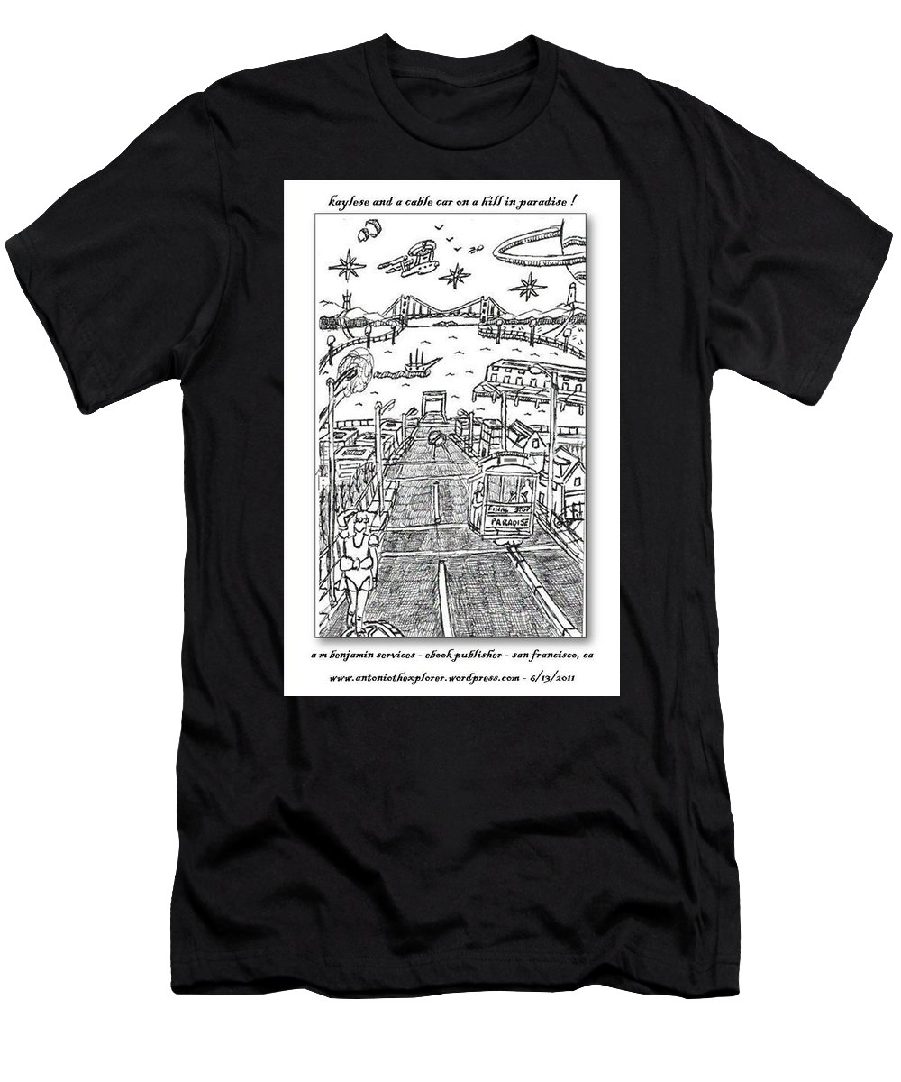Young Lady Men's T-Shirt (Athletic Fit) featuring the drawing Kaylese Looking At The Bay by Anthony Benjamin