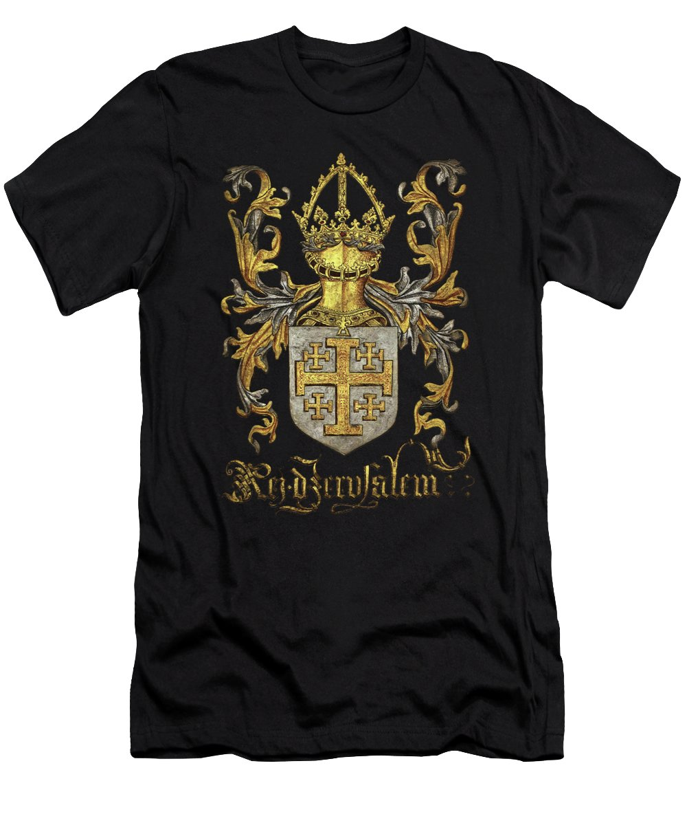 'roll Of Arms� Collection By Serge Averbukh T-Shirt featuring the photograph Kingdom of Jerusalem Coat of Arms - Livro do Armeiro-Mor by Serge Averbukh