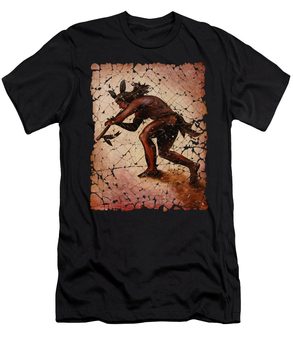Kokopelli Men's T-Shirt (Athletic Fit) featuring the digital art Kokopelli The Flute Player by OLena Art Brand