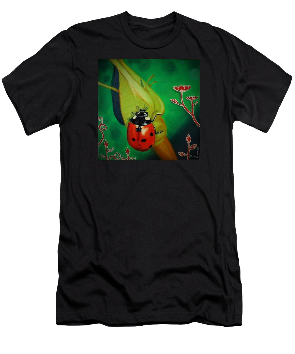 Men's T-Shirt (Athletic Fit) featuring the painting Ladybug by Adrian Ramos