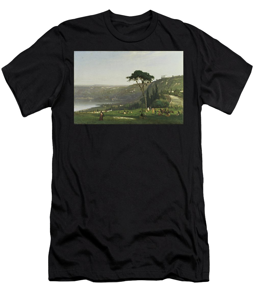 Lake Albano By George Inness Men's T-Shirt (Athletic Fit) featuring the painting Lake Albano by George Inness