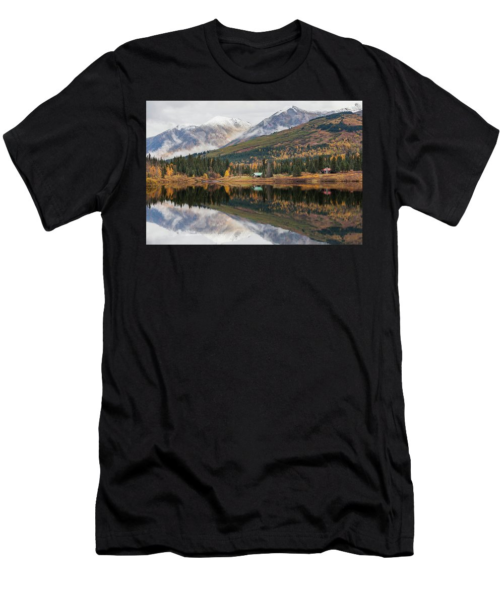 Alaska Men's T-Shirt (Athletic Fit) featuring the photograph Lake Cabins In Fall by Scott Slone