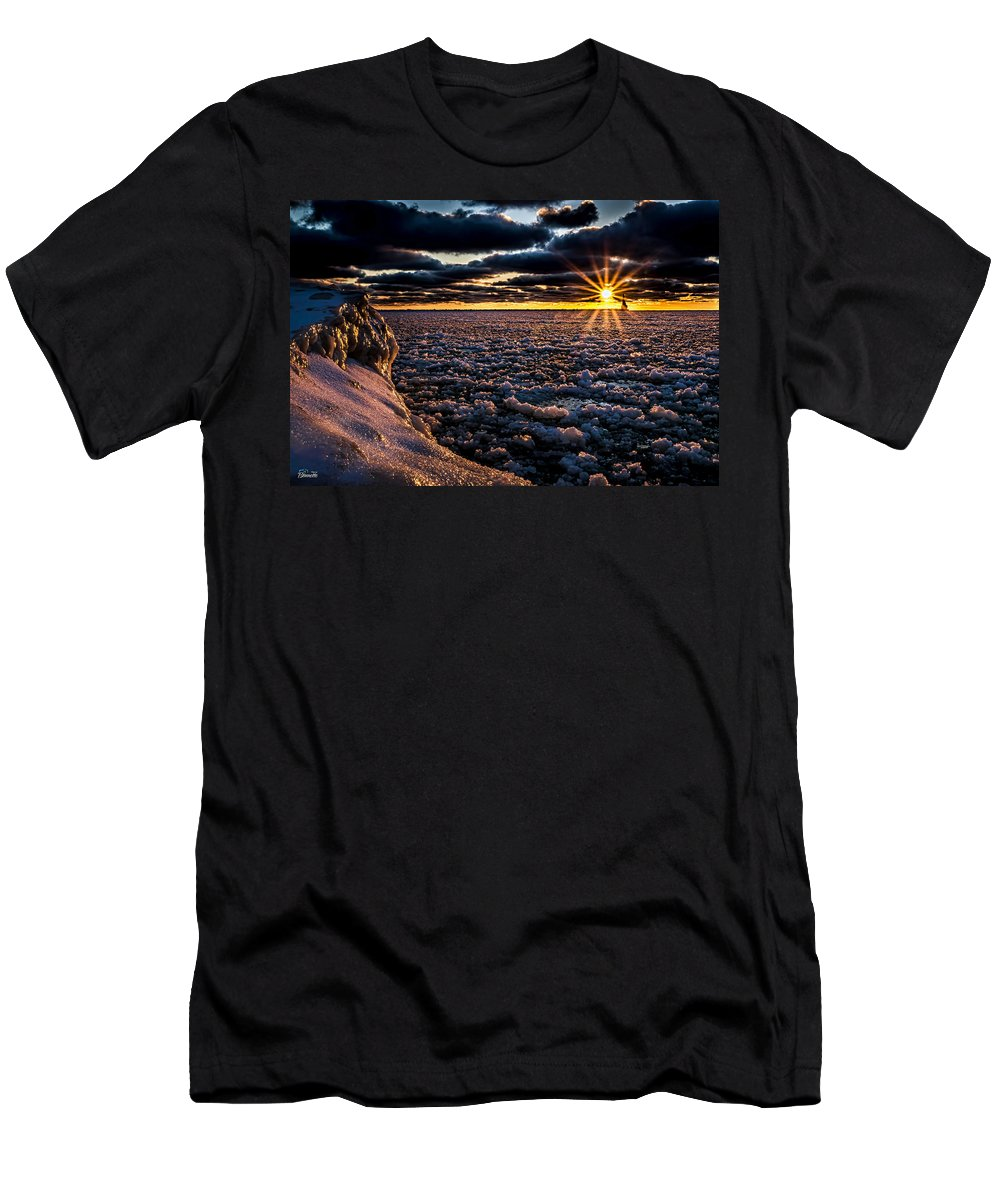 Ice Men's T-Shirt (Athletic Fit) featuring the photograph Lake Mi Sunset 8 by Tim Bonnette