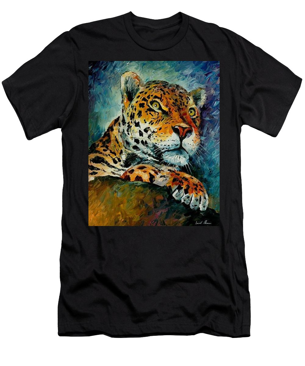 Animal Men's T-Shirt (Athletic Fit) featuring the painting Leopard by Leonid Afremov