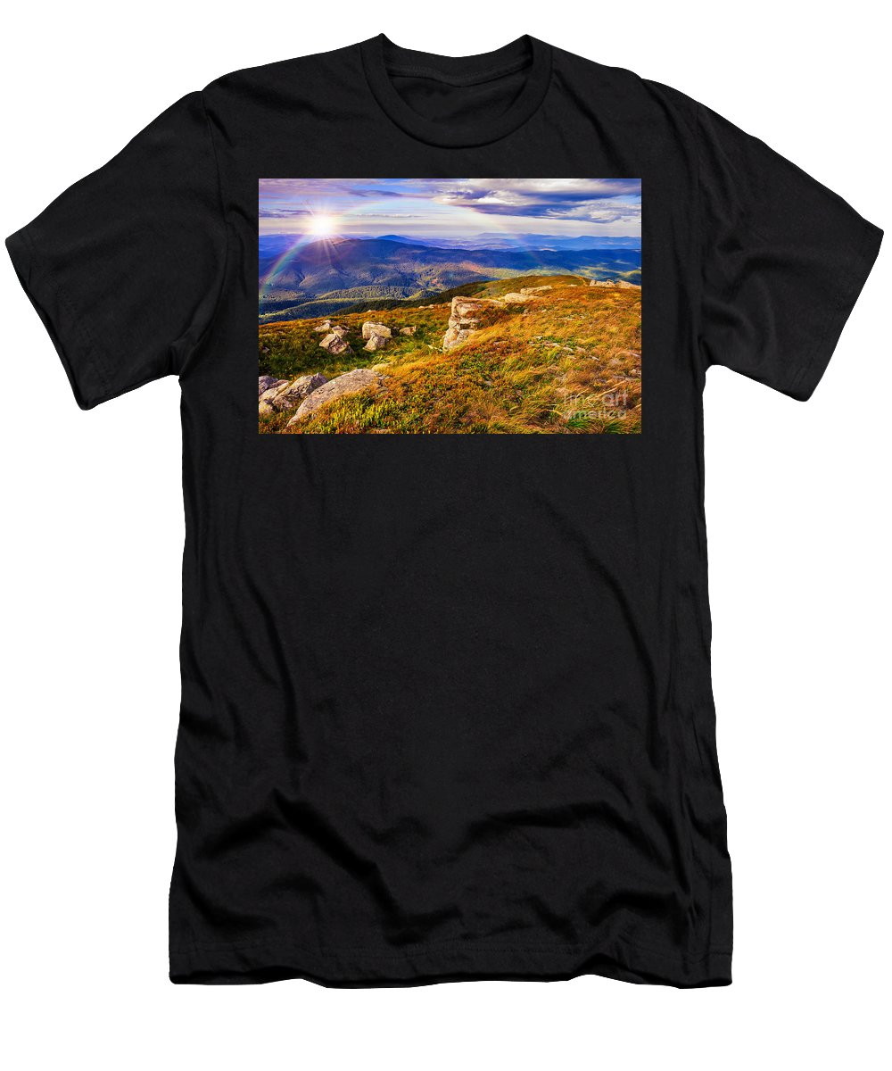 Landscape Men's T-Shirt (Athletic Fit) featuring the photograph Light On Stone Mountain Slope With Forest by Michael Pelin