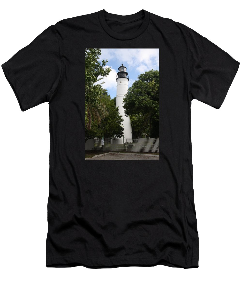 Ligthouse Men's T-Shirt (Athletic Fit) featuring the photograph Lighthouse - Key West by Christiane Schulze Art And Photography
