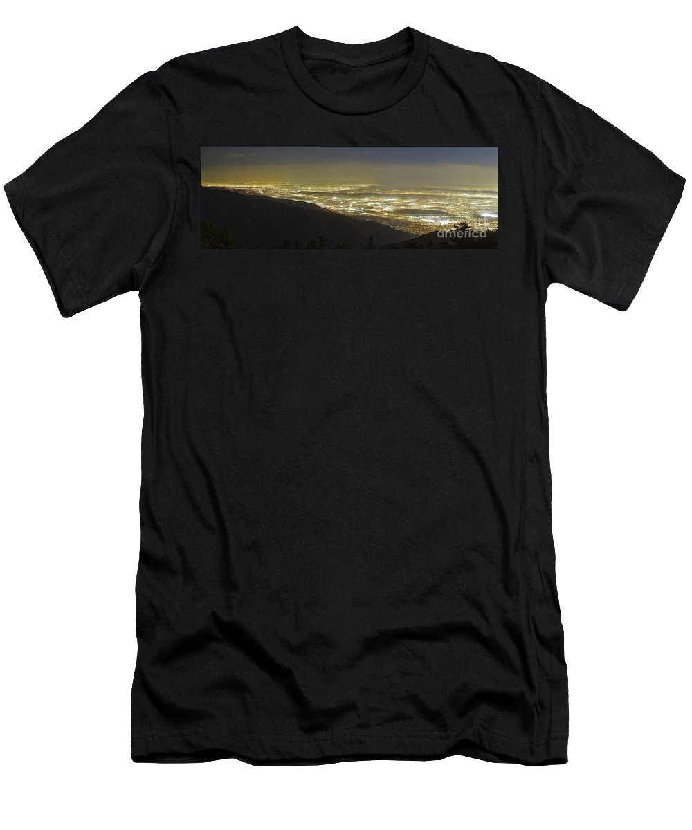 Los Angeles Men's T-Shirt (Athletic Fit) featuring the photograph Lights Of Los Angeles, California by Babak Tafreshi