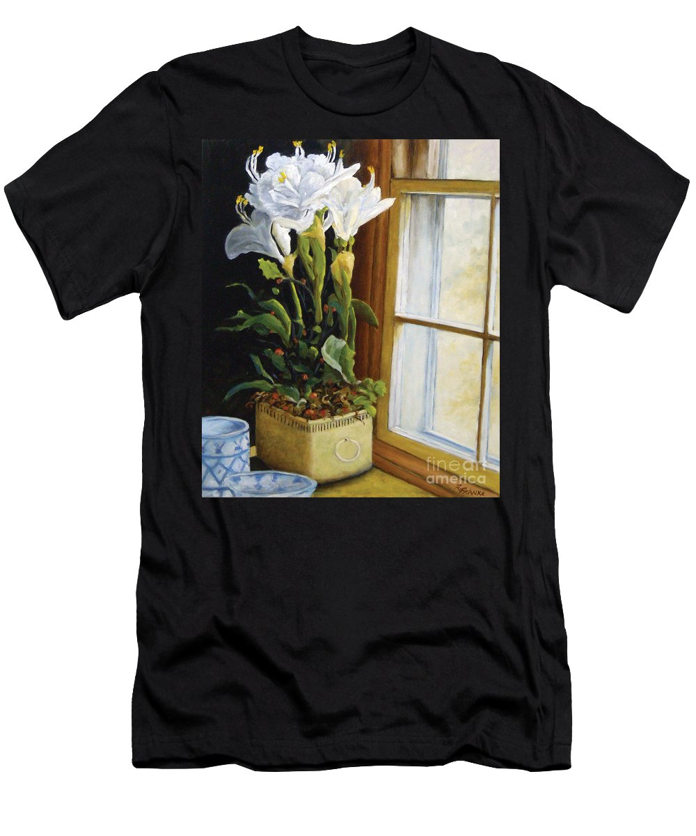 Art Men's T-Shirt (Athletic Fit) featuring the painting Lillies by Richard T Pranke