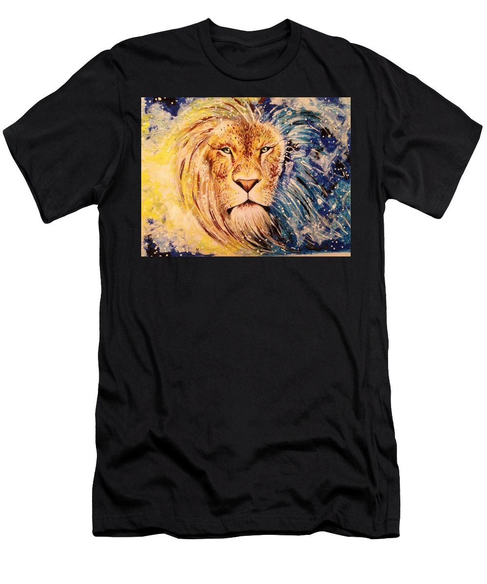 Eyes; Draw ; Drawing ; Portrait ; Color ; Graphite ; Men ; Guy ; Fantasy ; Animal ; Lion Men's T-Shirt (Athletic Fit) featuring the drawing Lion by Elisa Matarrese