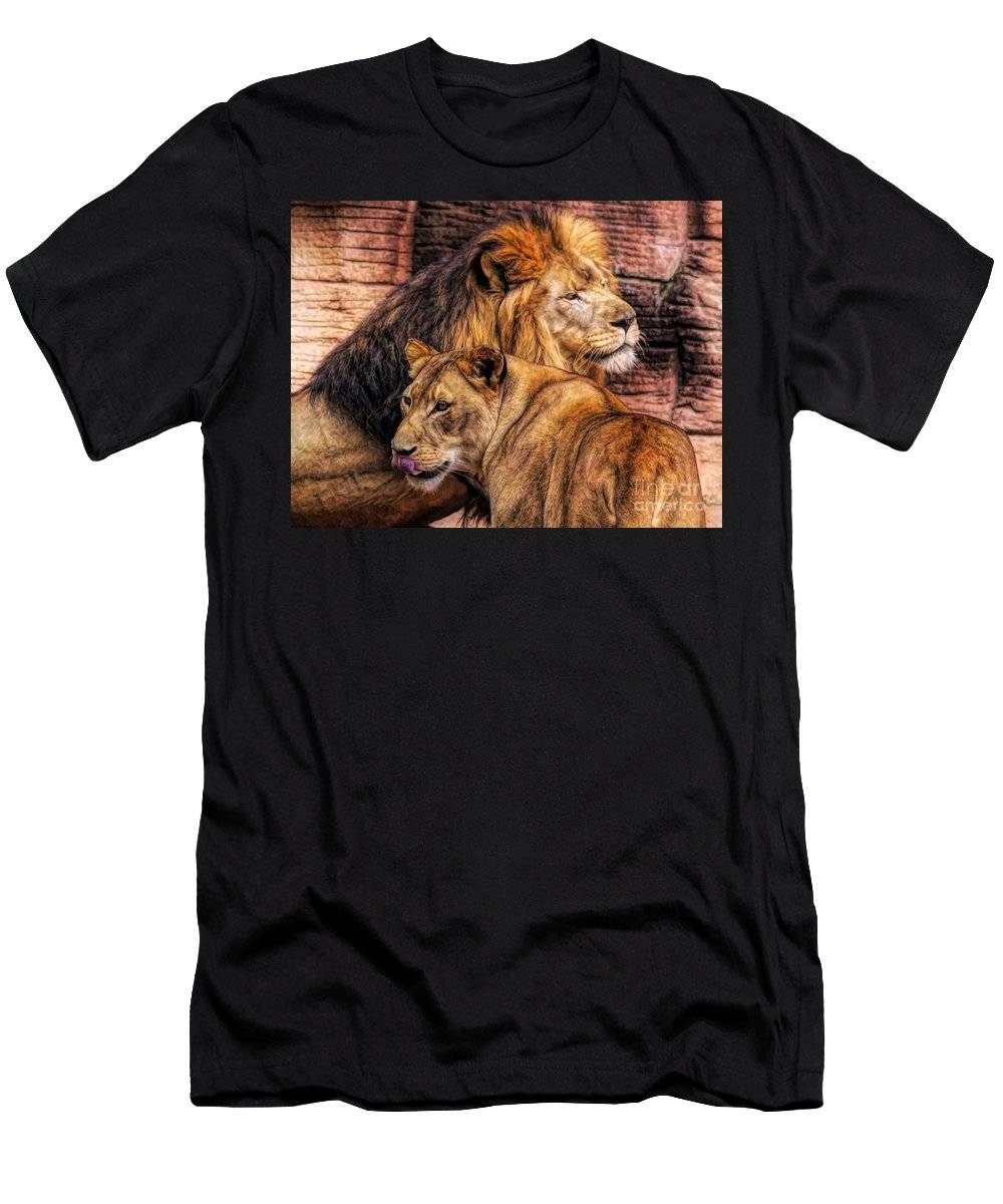 Lion Men's T-Shirt (Athletic Fit) featuring the photograph Lion Mates by Paulette Thomas