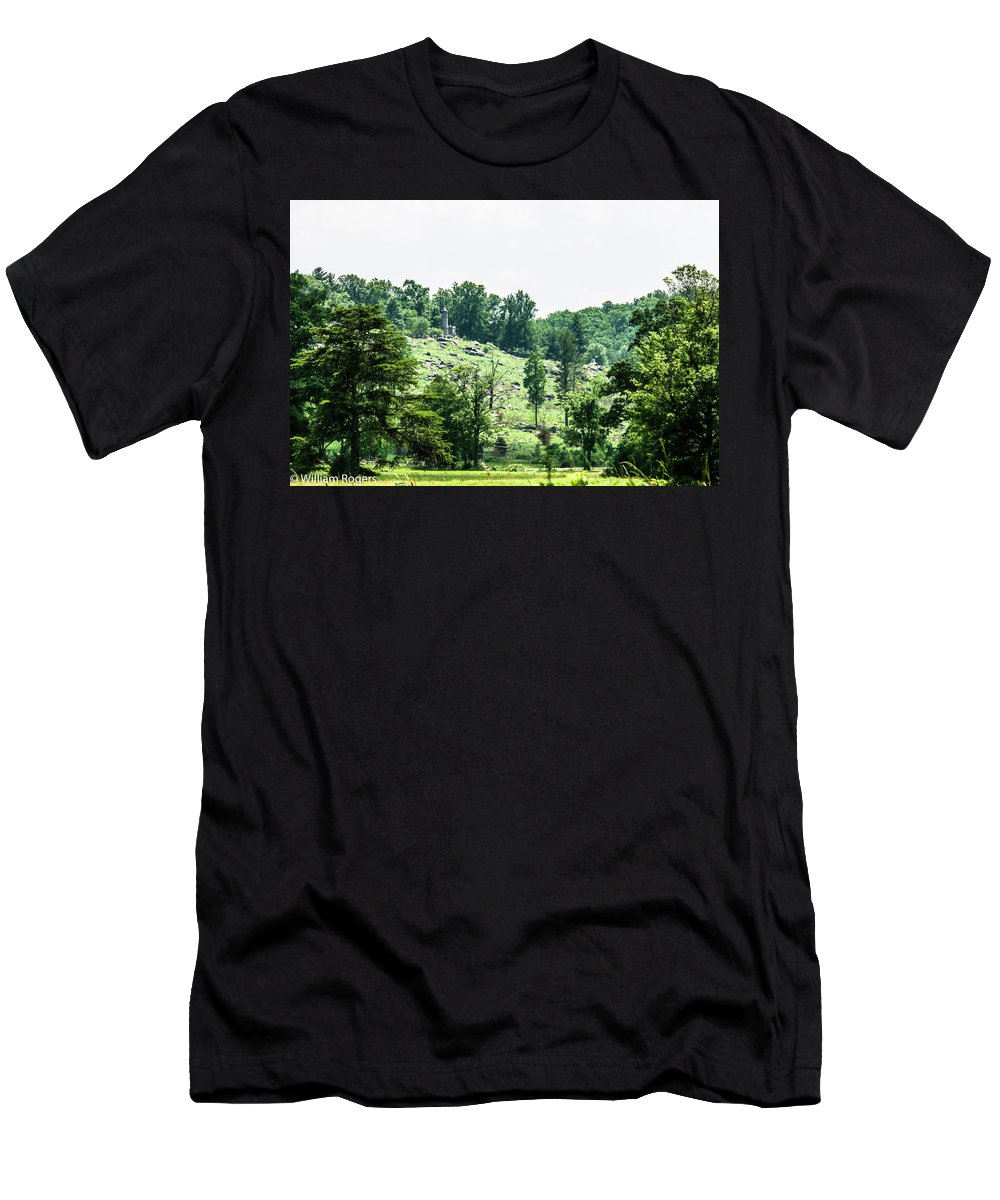 This Is A Photo Of Little Round Top Men's T-Shirt (Athletic Fit) featuring the photograph Looking Up At Little Round Top by William Rogers