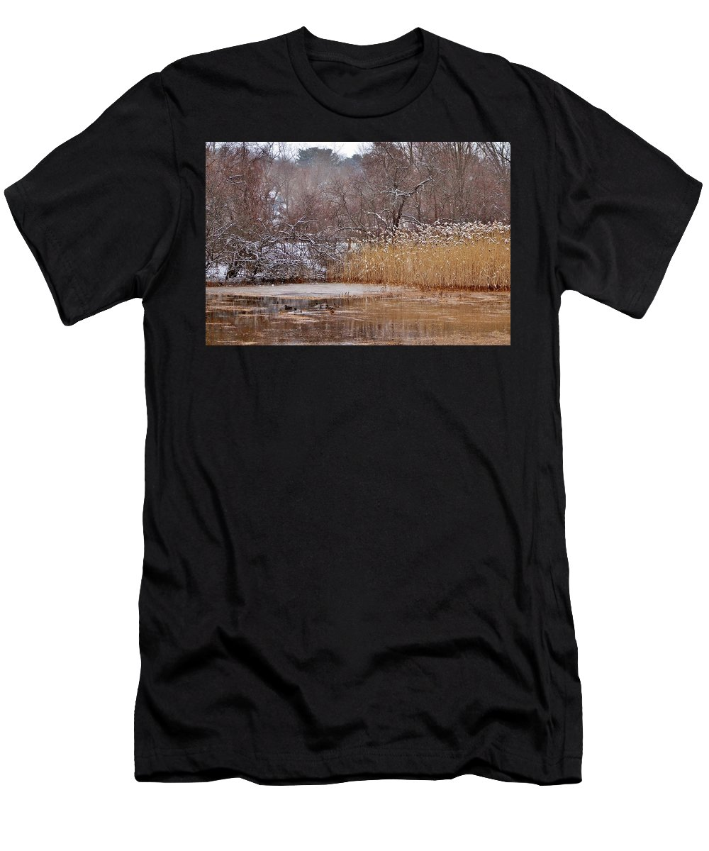 Ducks Men's T-Shirt (Athletic Fit) featuring the photograph Mallards by Scott Hufford