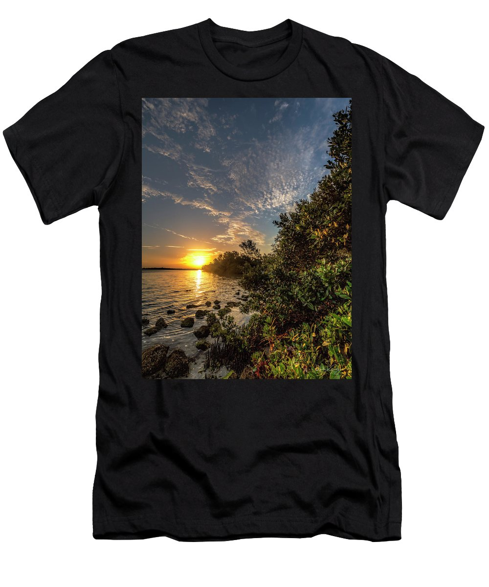 Mangrove Men's T-Shirt (Athletic Fit) featuring the photograph Mangrove Sunrise by Ronald Kotinsky
