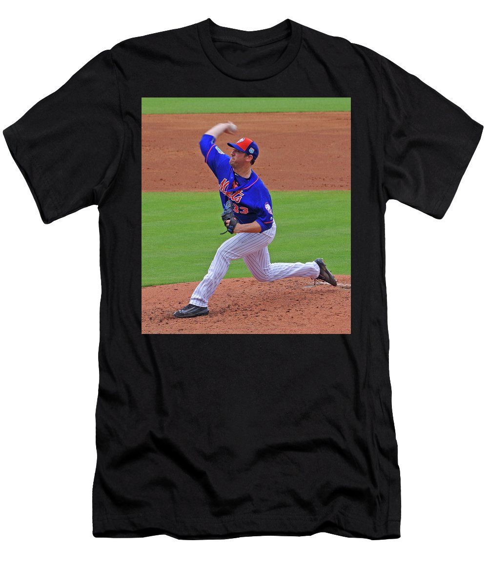 Matt Harvey Men's T-Shirt (Athletic Fit) featuring the photograph Matt Harvey by Bruce Roker