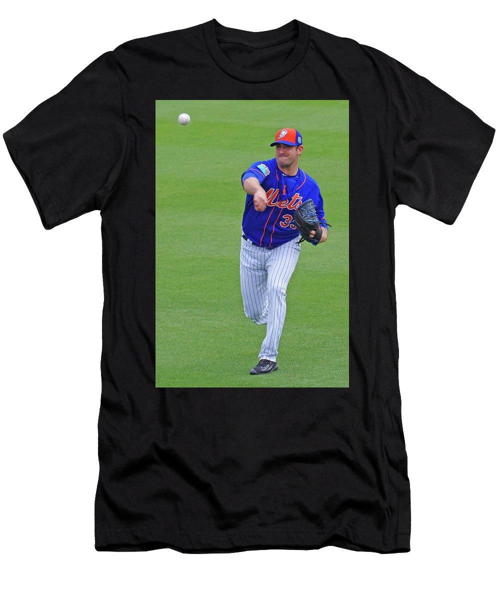 Baseball Men's T-Shirt (Athletic Fit) featuring the photograph Matt Harvey New York Mets by Bruce Roker