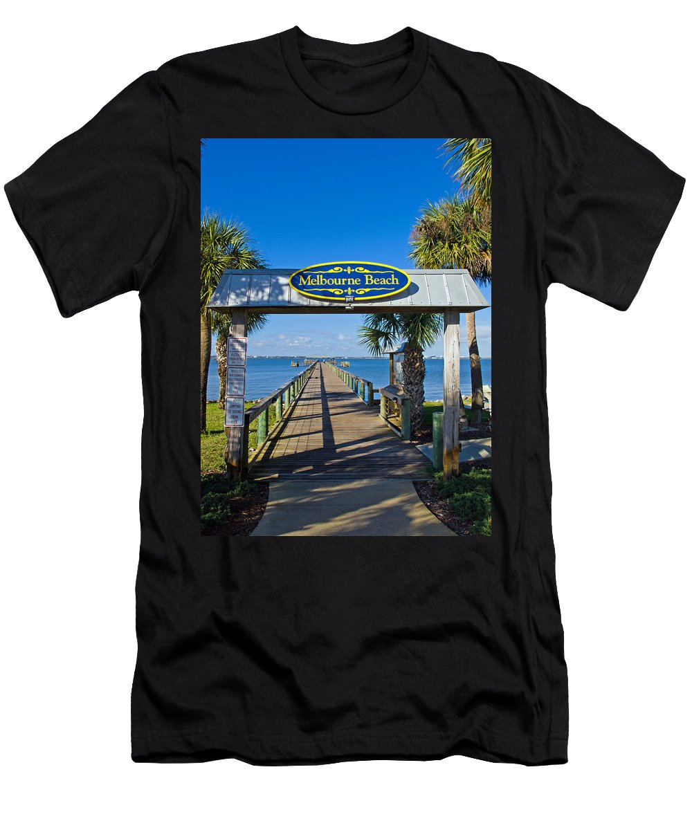Florida; Melbourne; Beach; Atlantic; Coast; East; Space; Pier; Pineapples; Steamboat; Load; Cargo; I Men's T-Shirt (Athletic Fit) featuring the photograph Melbourne Beach Florida by Allan Hughes