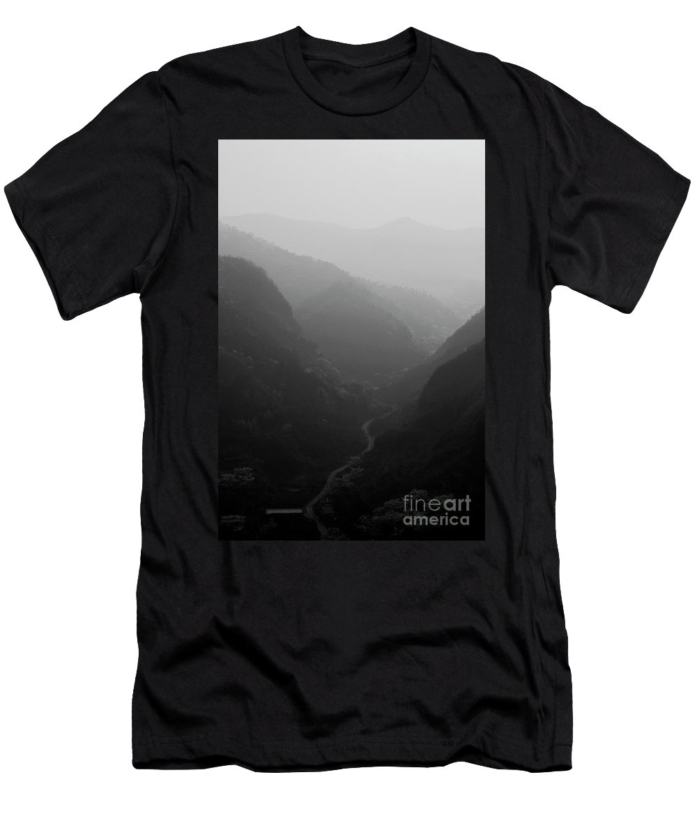 Yellow Cliff Pass Village Men's T-Shirt (Athletic Fit) featuring the photograph Misty View Of Mountain Valleys, The Great Wall Of China by Dave Porter