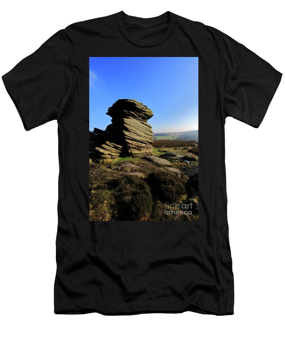 Mother Cap Men's T-Shirt (Athletic Fit) featuring the photograph Mother Cap Gritstone Rock Formation, Millstone Edge by Dave Porter