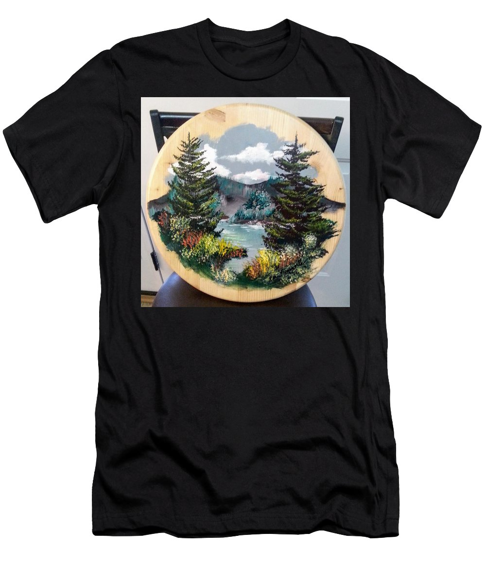 Kandscape Men's T-Shirt (Athletic Fit) featuring the painting Mountain Lake by Ken Farnsworth