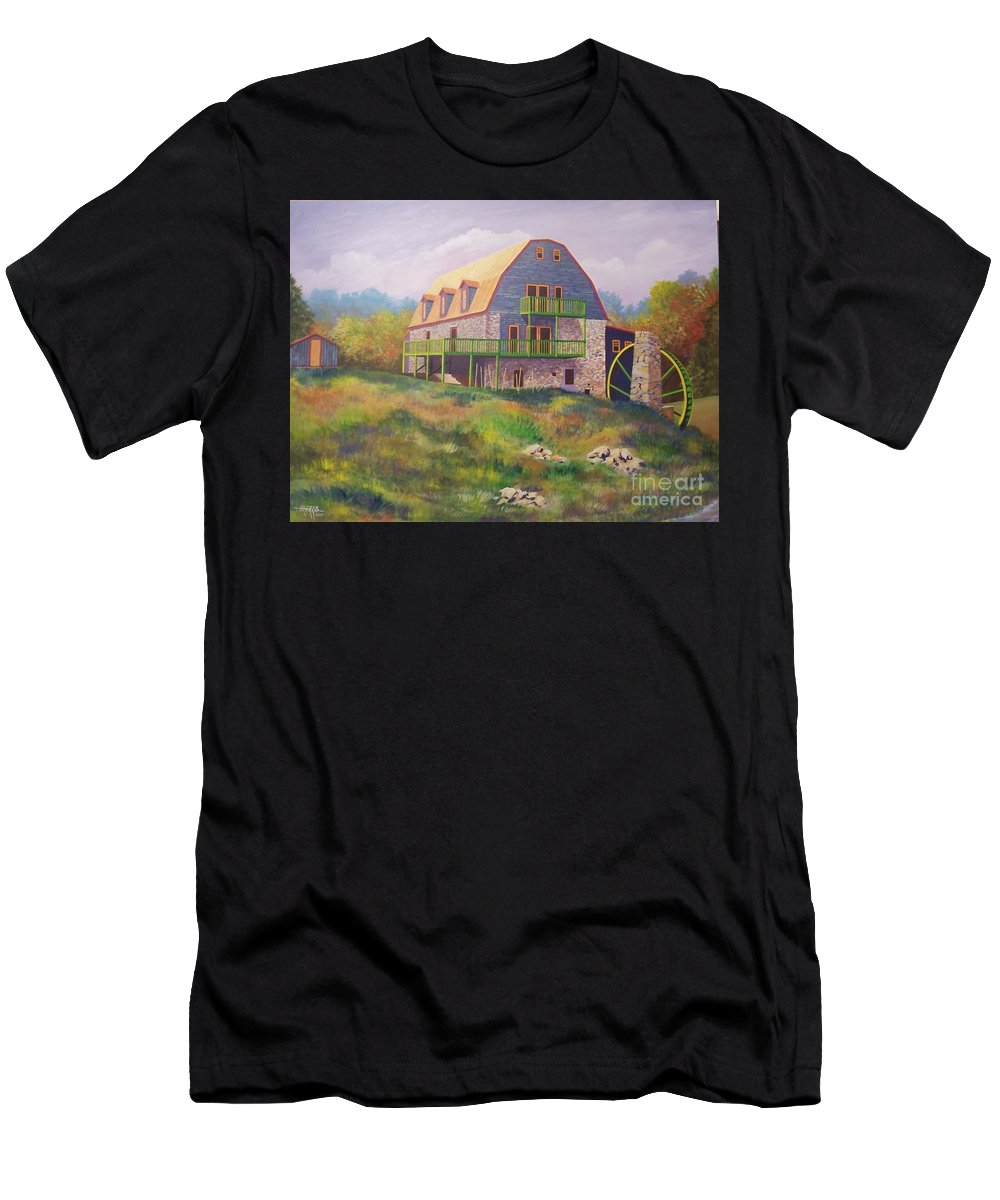 Mill Men's T-Shirt (Athletic Fit) featuring the painting Mountain Mill by Hugh Harris