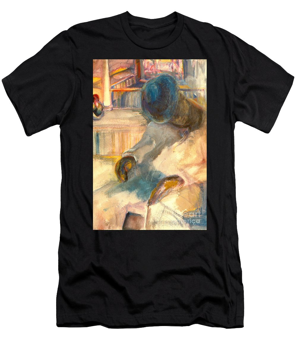 Watercolor Men's T-Shirt (Athletic Fit) featuring the painting Mr Hunters Porch by Daun Soden-Greene