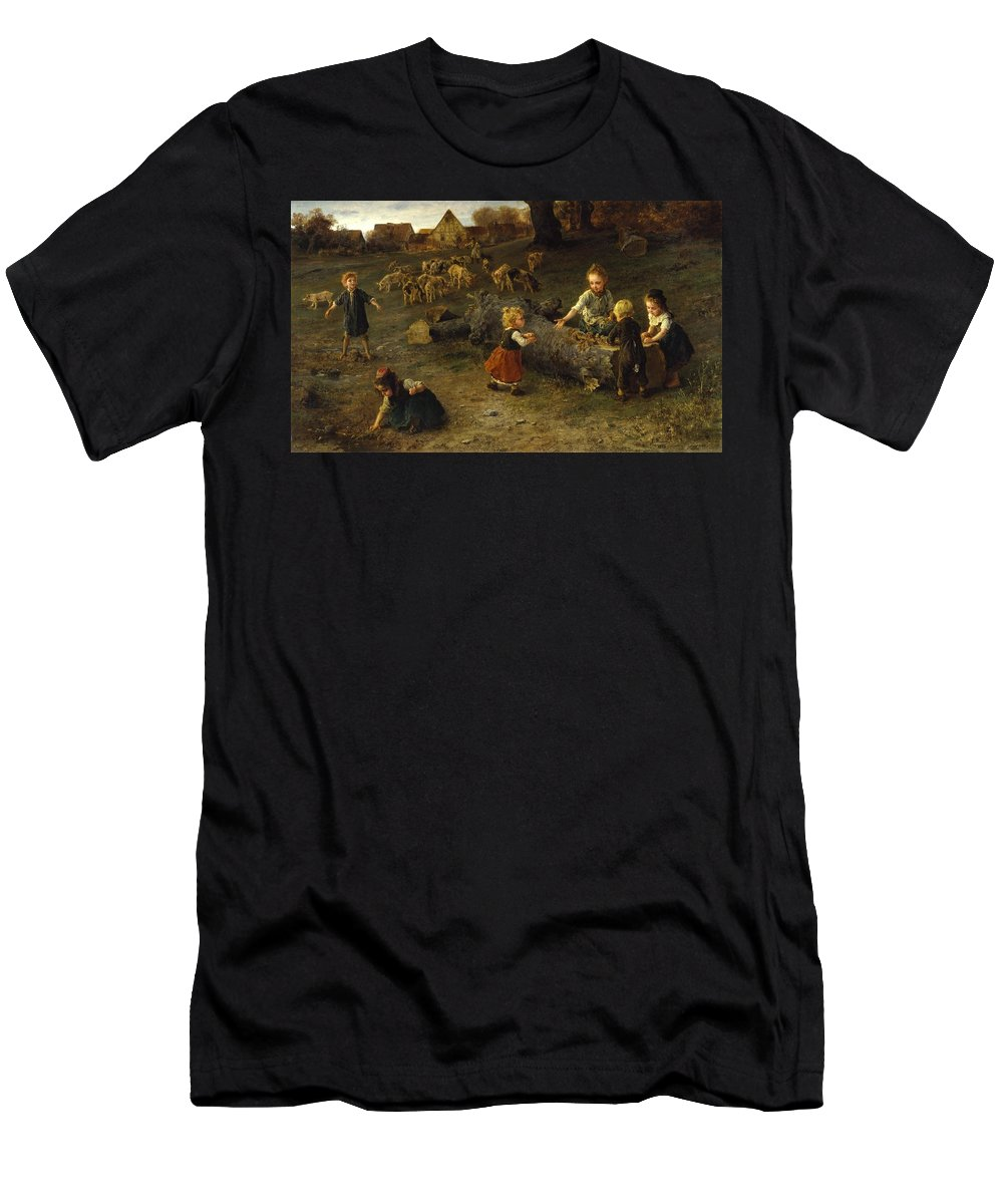 Ludwig Knaus - Mud Pies - 1873 Men's T-Shirt (Athletic Fit) featuring the painting Mud Pies by Ludwig Knaus