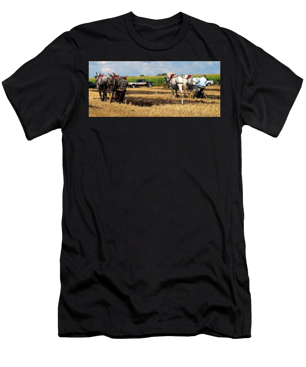 Horses Men's T-Shirt (Athletic Fit) featuring the photograph Neck And Neck by Ian MacDonald