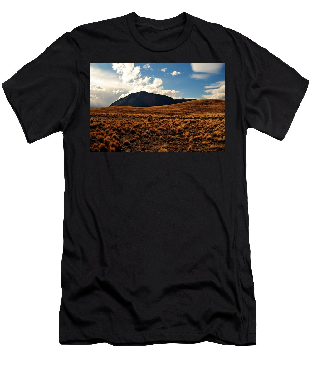 New Zealand Men's T-Shirt (Athletic Fit) featuring the photograph New Zealand Landscape by Tom Nix
