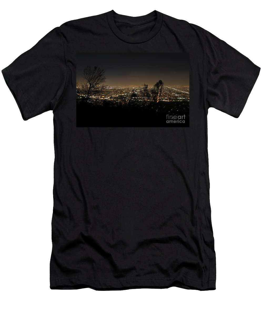 Clay Men's T-Shirt (Athletic Fit) featuring the photograph Night At Griffeth Observatory by Clayton Bruster