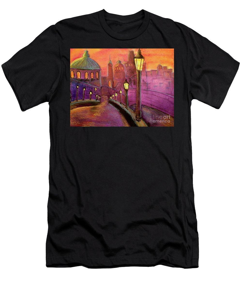 Prague Men's T-Shirt (Athletic Fit) featuring the painting Prague by Carolyn Curtice